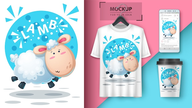 Nette lammillustration für t-shirt, schale und smartphonetapete Premium Vektoren
