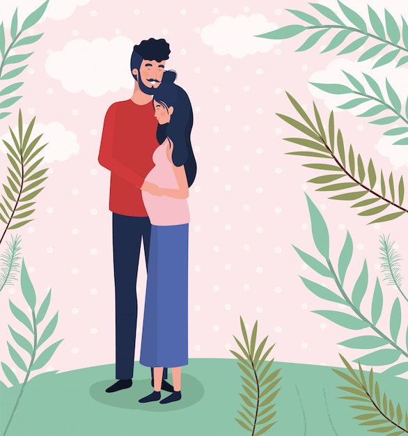 Nette liebhaber verbinden schwangerschaftscharaktere in der landschaft Kostenlosen Vektoren