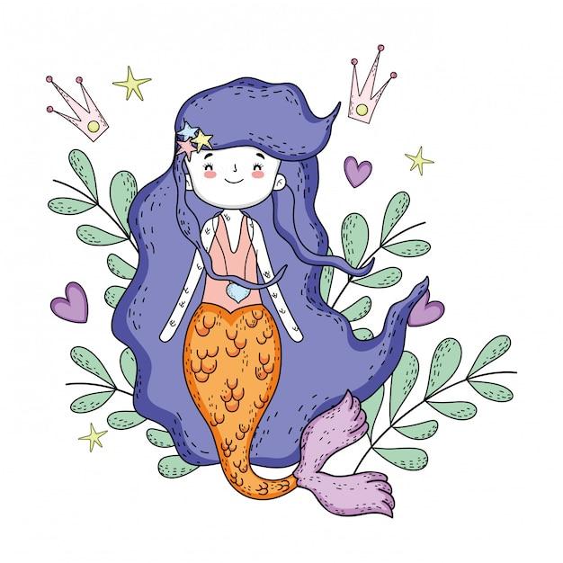 Nette meerjungfrau unter meer mit meerespflanze Premium Vektoren
