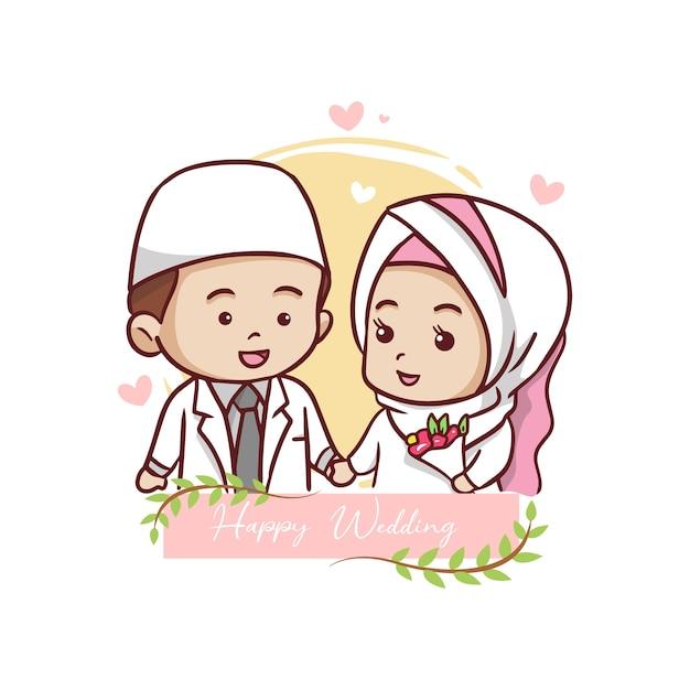Nette muslimische paar-karikatur-charakter-illustration Premium Vektoren