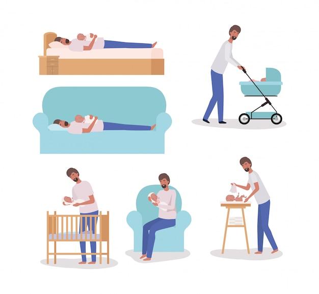 Nette mutter mit gesetzten tätigkeiten des neugeborenen babys Kostenlosen Vektoren
