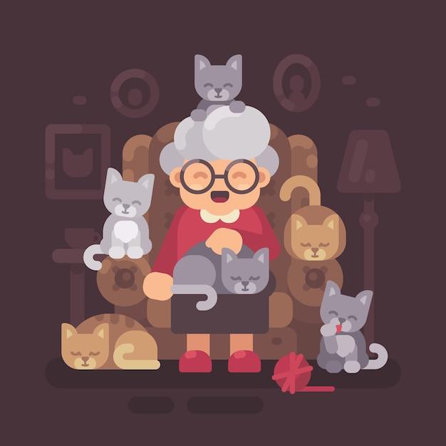 Nette oma, die im lehnsessel mit ihren katzen sitzt. alte katzendame mit flacher illustration der fünf kätzchen Premium Vektoren