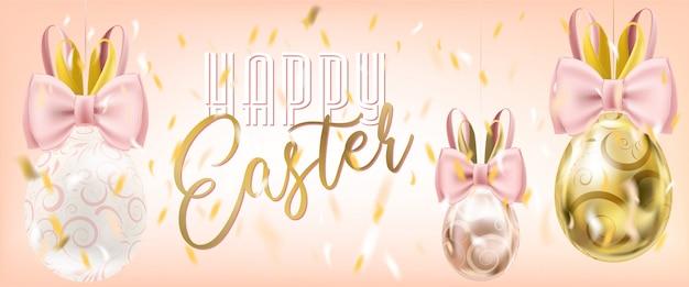 Nette ostereier mit bunny bow im konfetti auf dem rosa hintergrund. ostern verkaufsposter Premium Vektoren