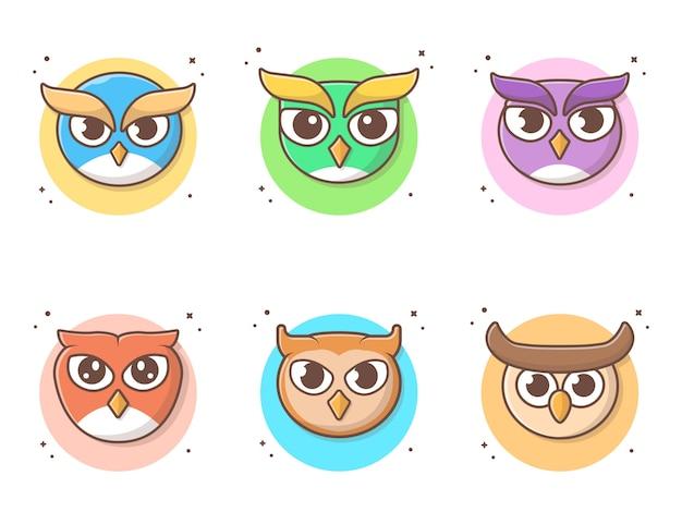 Nette owl cartoon collections-vektor-ikonen-illustration Premium Vektoren