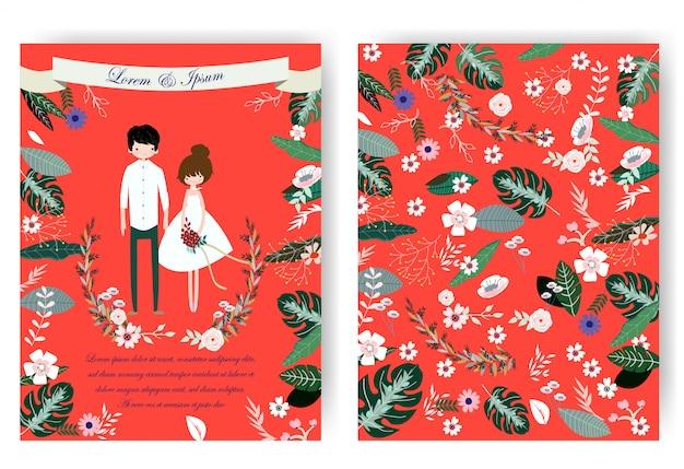 Nette paare und rosafarbene blumenblume in der roten hochzeitskarte Premium Vektoren