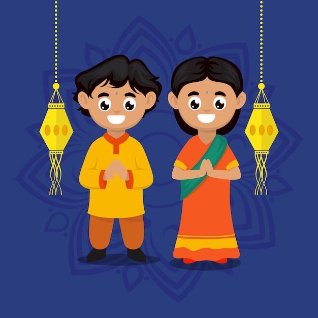 Nette paarkinder mit diwali india festivalthema-charakterillustration Premium Vektoren