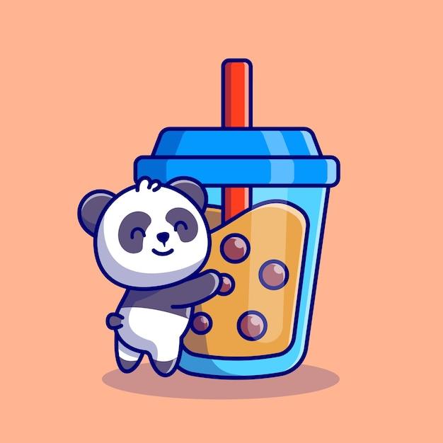 Nette panda umarmung boba milchtee cartoon icon illustration. animal drink icon concept premium. flacher cartoon-stil Kostenlosen Vektoren
