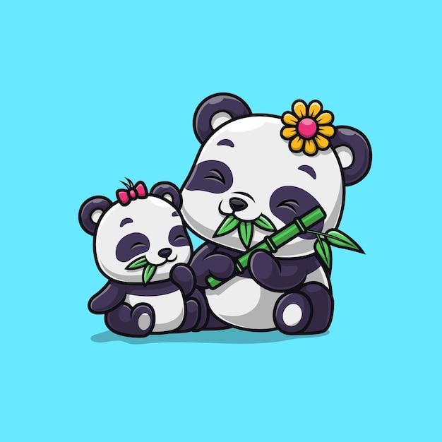 Nette pandafamilie essen bambus isoliert auf blau Premium Vektoren