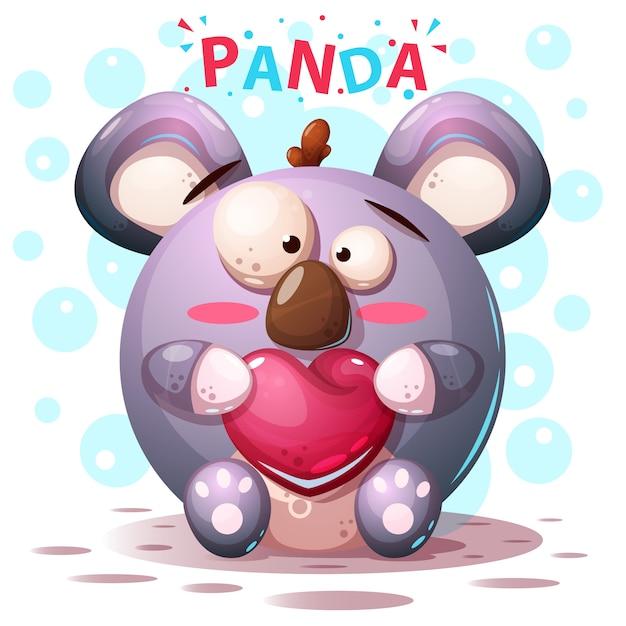 Nette pandazeichen - karikaturillustration Premium Vektoren