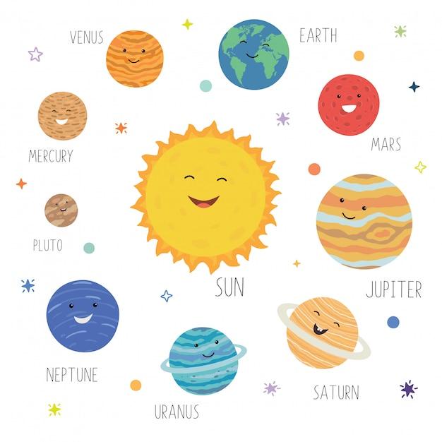 Nette planeten mit lustigen lächelnden gesichtern Premium Vektoren