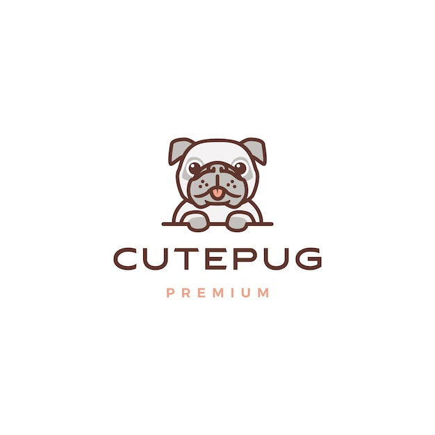 Nette pughundecartooncharakter-maskottchenlogo-ikonenillustration Premium Vektoren