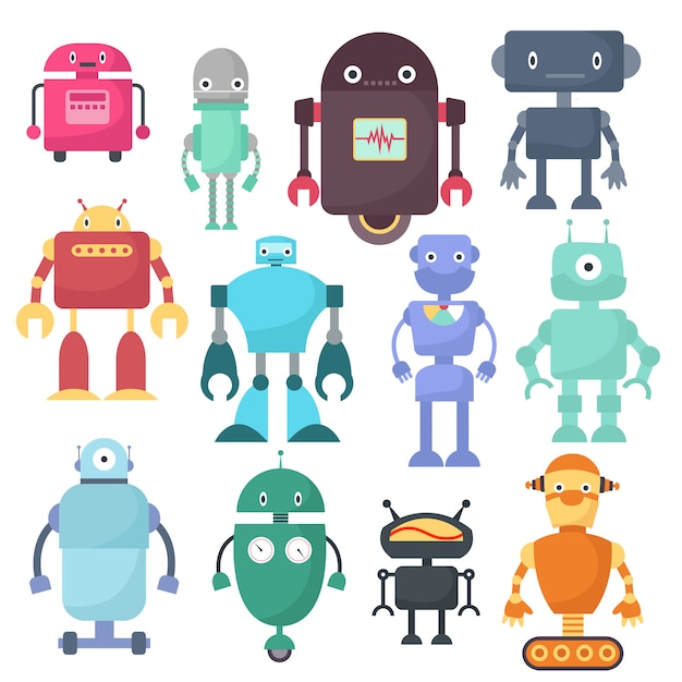 Nette roboter, cyborgmaschinenvektor-wissenschaftszeichen Premium Vektoren