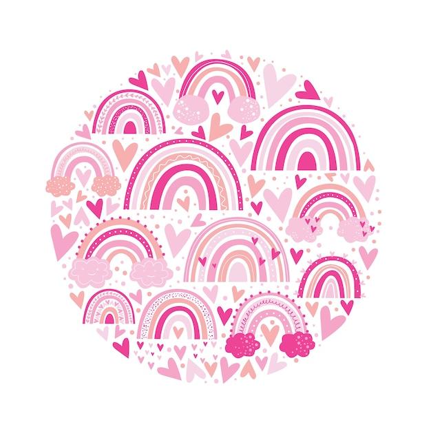 Nette rosa farbe des regenbogenmusters. kinderillustration. Premium Vektoren