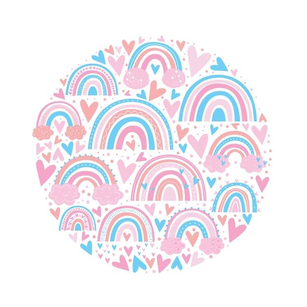 Nette rosa farbe des regenbogenmusters Premium Vektoren