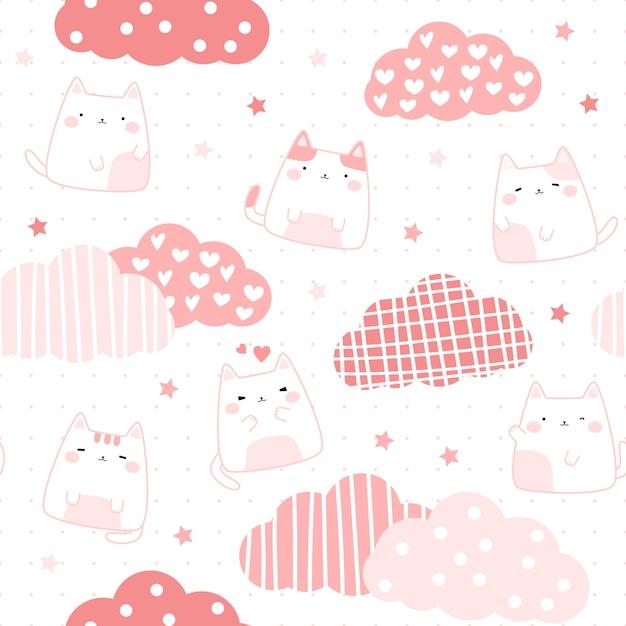 Nette rosa mollige katze auf nahtlosem muster des himmelkarikaturgekritzels Premium Vektoren