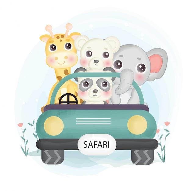 Nette safari-tiere, die auf einem auto im aquarellstil sitzen. Premium Vektoren