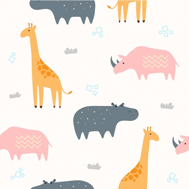 Nette savannah animal seamless pattern für tapete Premium Vektoren