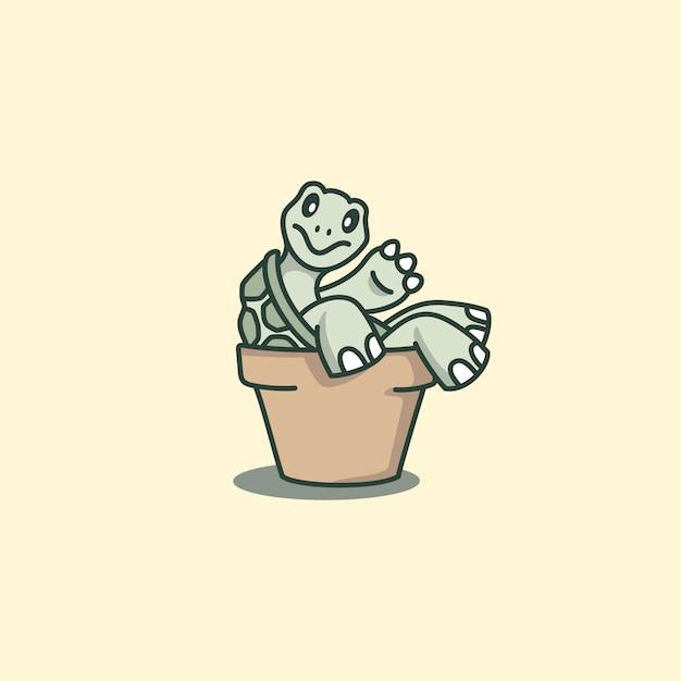 Nette schildkröten-karikatur, die sich zurück auf den topf lehnt Premium Vektoren