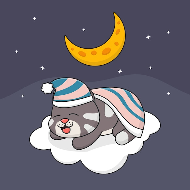 Nette schlafende katze auf wolke Premium Vektoren