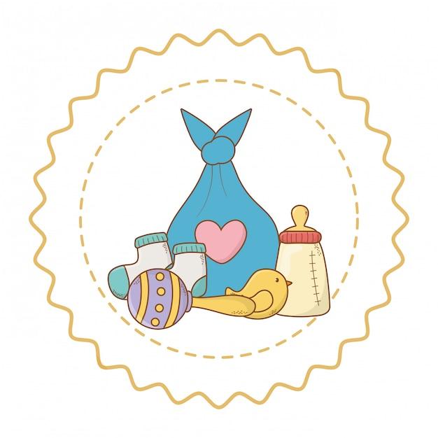 Nette schöne illustration der babyparty Premium Vektoren