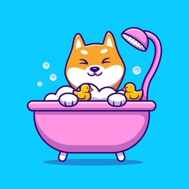 Nette shiba inu badedusche in badewanne cartoon vektor-illustration. tierliebeskonzept isolierter vektor. flacher cartoon-stil Premium Vektoren