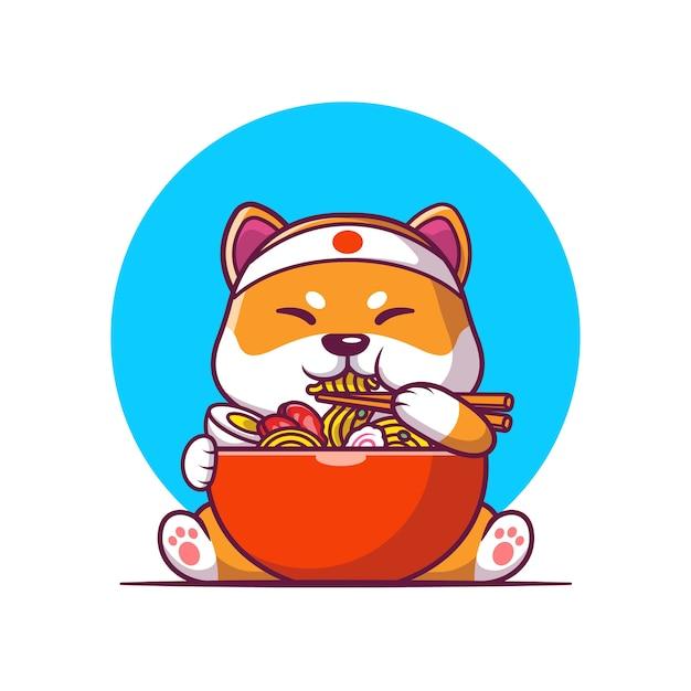 Nette shiba inu, die ramen-nudel-karikatur-vektor-illustration essen. tierfutter-konzept-isolierter vektor. flacher cartoon-stil Kostenlosen Vektoren