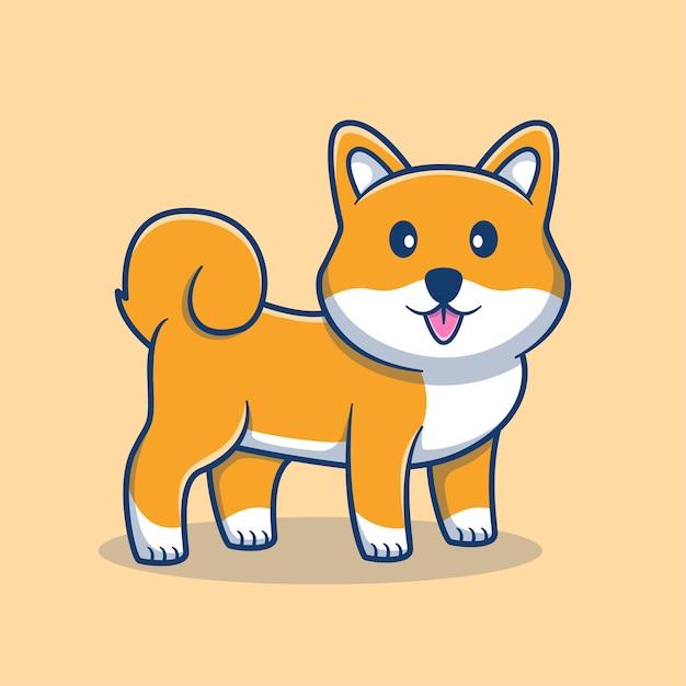 Nette shiba inu karikaturillustration. nettes hundemaskottchenlogo. tierkarikaturkonzept. flacher cartoon-stil geeignet für tier, tierhandlung, haustierlogo, produkt. Premium Vektoren