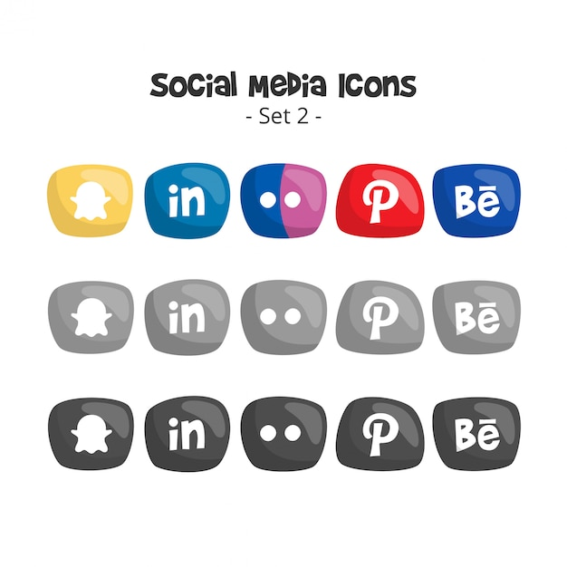 Nette social media-logos und -ikonen eingestellt Premium Vektoren