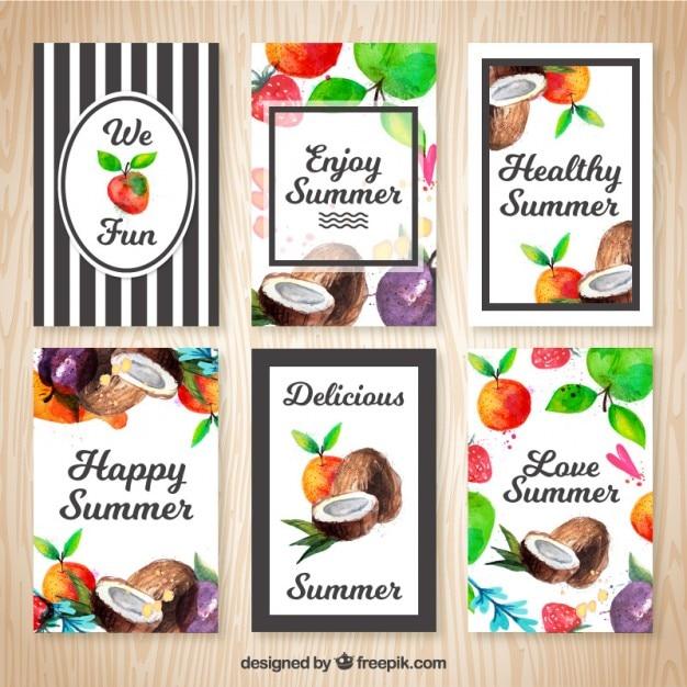 Nette sommer karten mit aquarell früchte Kostenlosen Vektoren