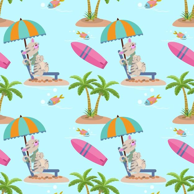 Nette sommerkatze auf dem nahtlosen muster des strandes. Premium Vektoren