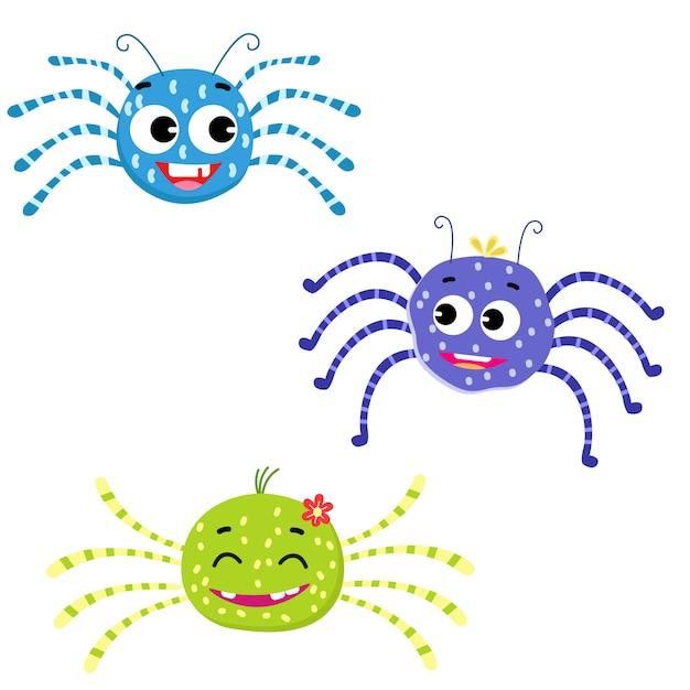 Nette spinnen für kindervektor Premium Vektoren