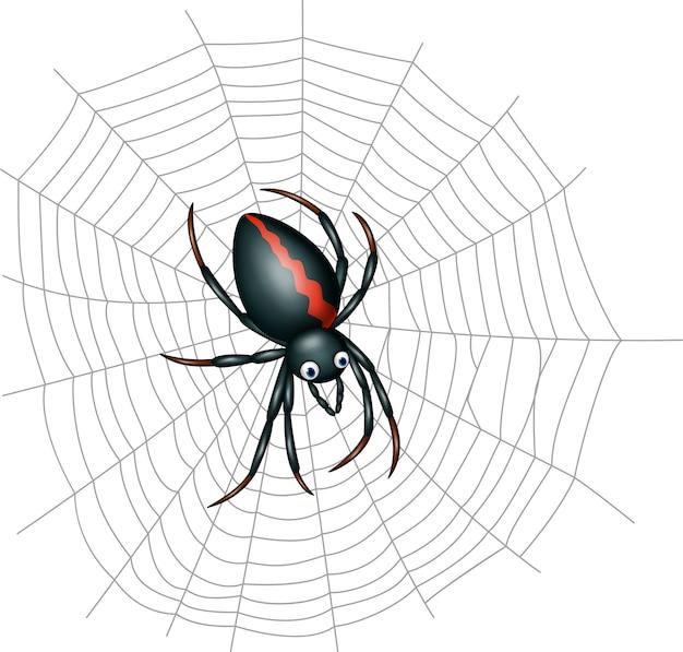 Nette spinnenkarikatur Premium Vektoren