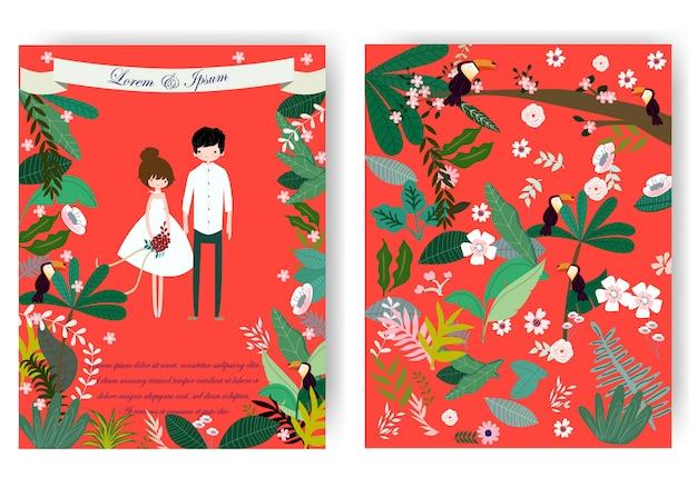 Nette süße paare und rosafarbene blumenblume in der roten hochzeitskarte Premium Vektoren