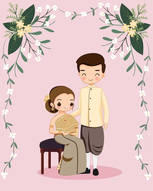 Nette thailändische paare für hochzeitseinladungskarte Premium Vektoren