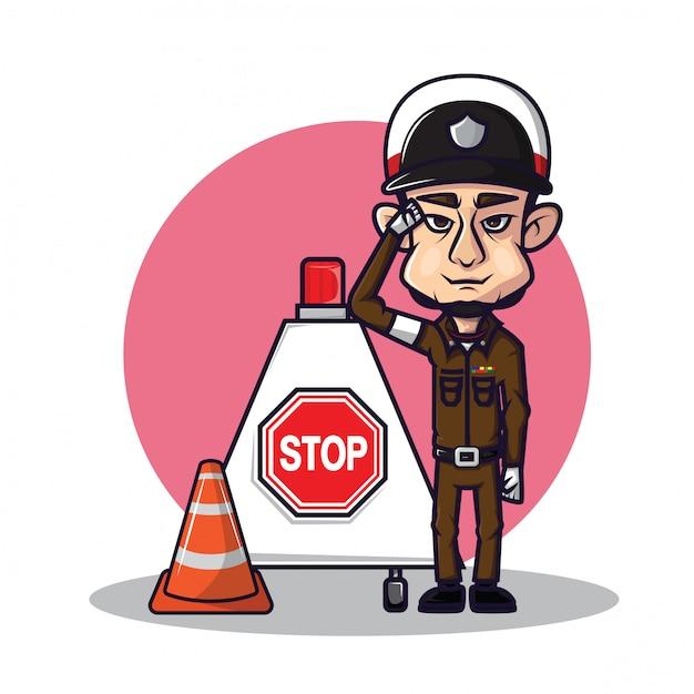 Nette thailändische verkehrspolizei Premium Vektoren