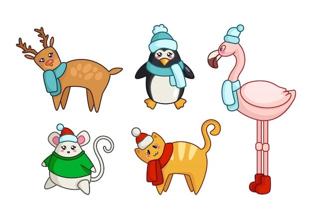 Nette tiere kawaii weihnachten oder des neuen jahres im winter kleidet ren, katze, maus, pinguin Premium Vektoren