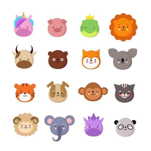 Nette tiergesichter. hund und katze, kuh und fuchs, einhorn und panda. tierkind emoji. kawaii zoo vektor sammlung Premium Vektoren