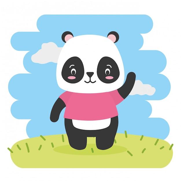 Nette tierkarikatur panda bear und flache art, illustration Kostenlosen Vektoren