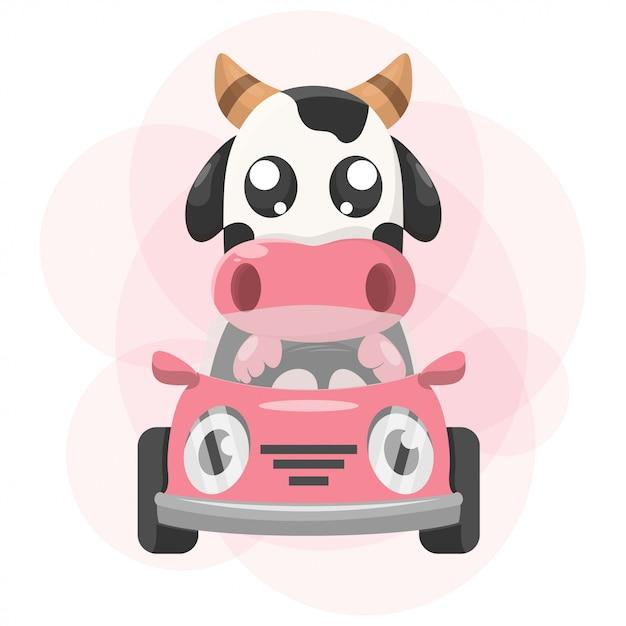 Nette tierkuh mit auto-maskottchen-karikatur Premium Vektoren