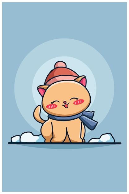 Nette und glückliche winterkatzenkarikaturillustration Premium Vektoren