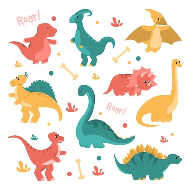 Nette und lustige dinosaurier setzen isoliert Premium Vektoren