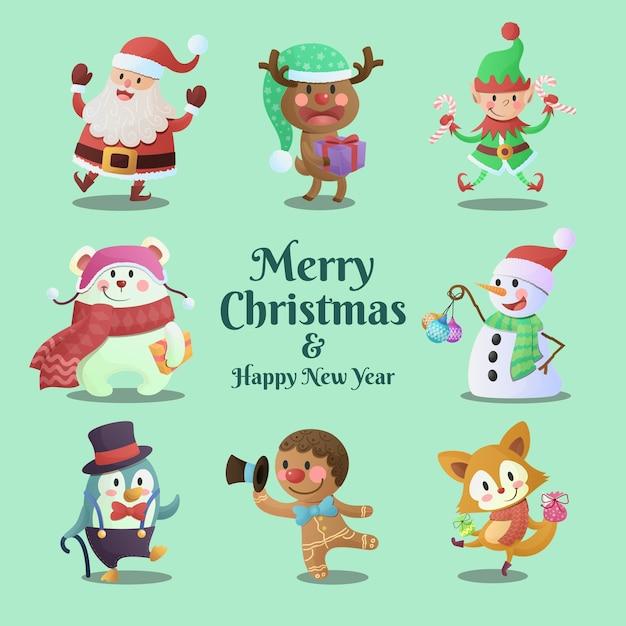 Nette und lustige frohe weihnachten und frohes neues jahr-charaktersammlung Premium Vektoren