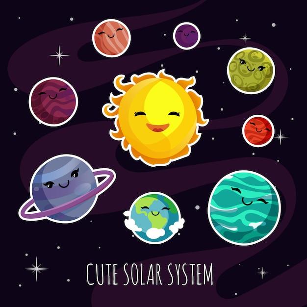 Nette und lustige karikaturplanetenaufkleber des planetensystems. Premium Vektoren