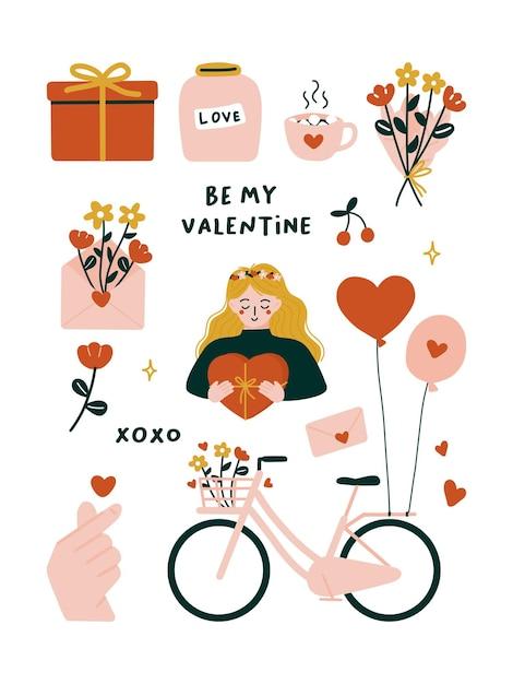 Nette valentinstagelemente mit fahrrad, blumenstrauß, liebesflaschenglas, blühenden roten blumen, fingerherz, umschlag, heißer kakao, geschenkbox, frau, luftballons. Premium Vektoren
