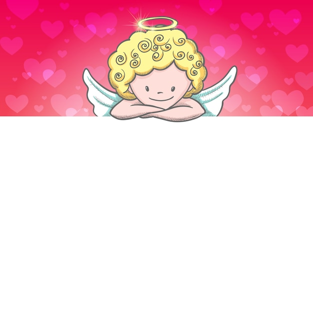 Nette valentinstagkarte mit skizze amor Premium Vektoren