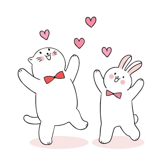 Nette valentinstagkatze der karikatur und kaninchen- und herzvektor. Premium Vektoren