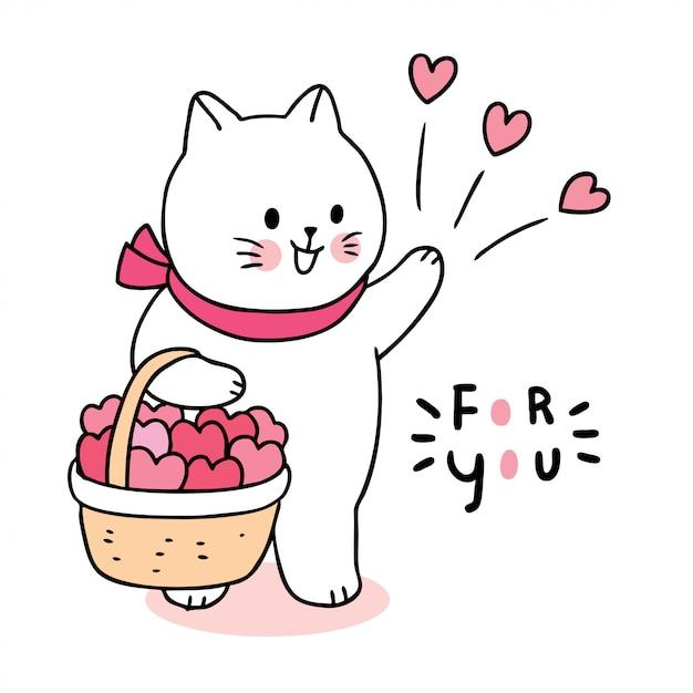 Nette valentinstagkatze und -herzen der karikatur im korbvektor. Premium Vektoren