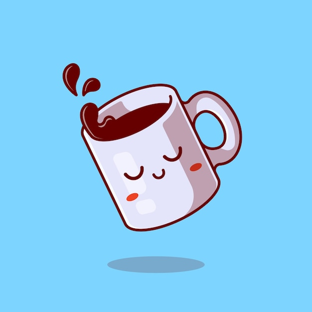 Nette verschlafene tasse mit kaffee-karikatur-symbol-illustration. Kostenlosen Vektoren