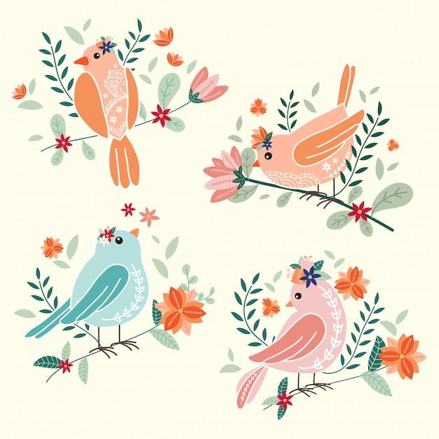 Nette vögel mit blumenvektorillustration Premium Vektoren