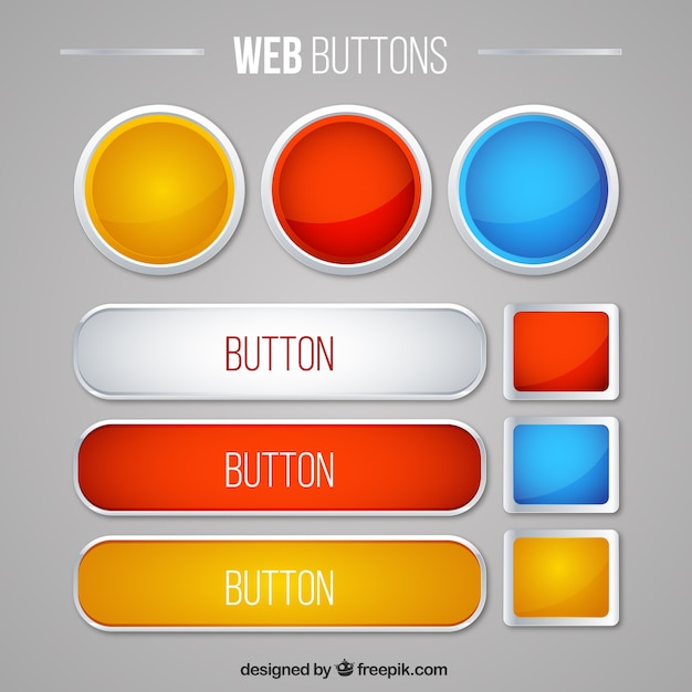 Nette web-buttons pack Kostenlosen Vektoren